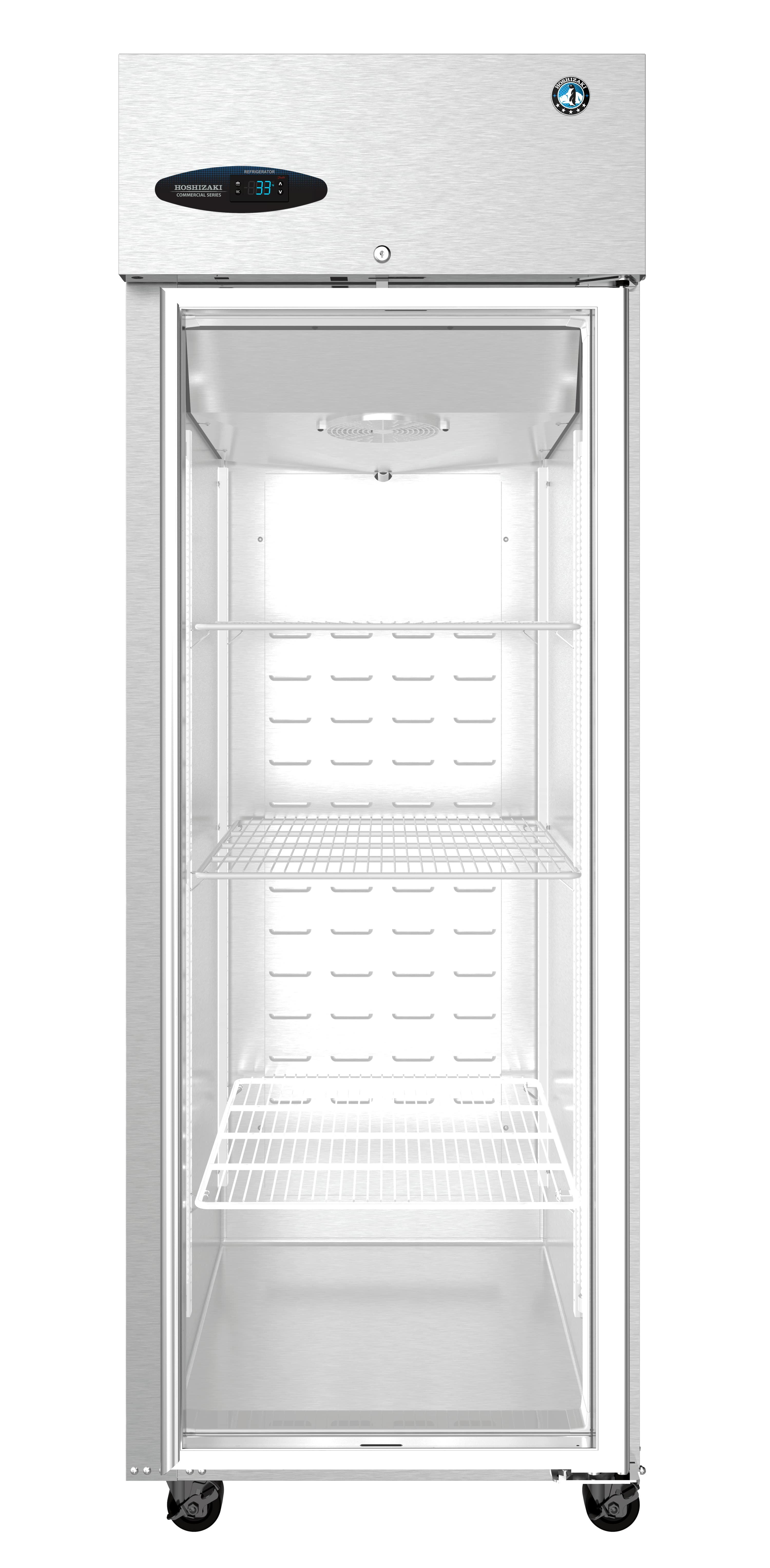 ETL Upright Single Stainless Steel Glass Refrigerator